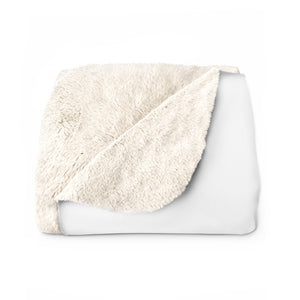 White Sherpa Fleece Blanket w/ Logo