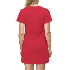 Red and Black FU All Over Print T-Shirt Dress