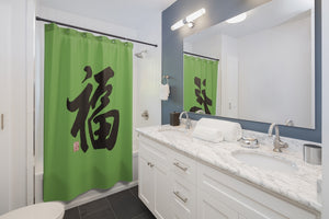 Green and Black Shower Curtains