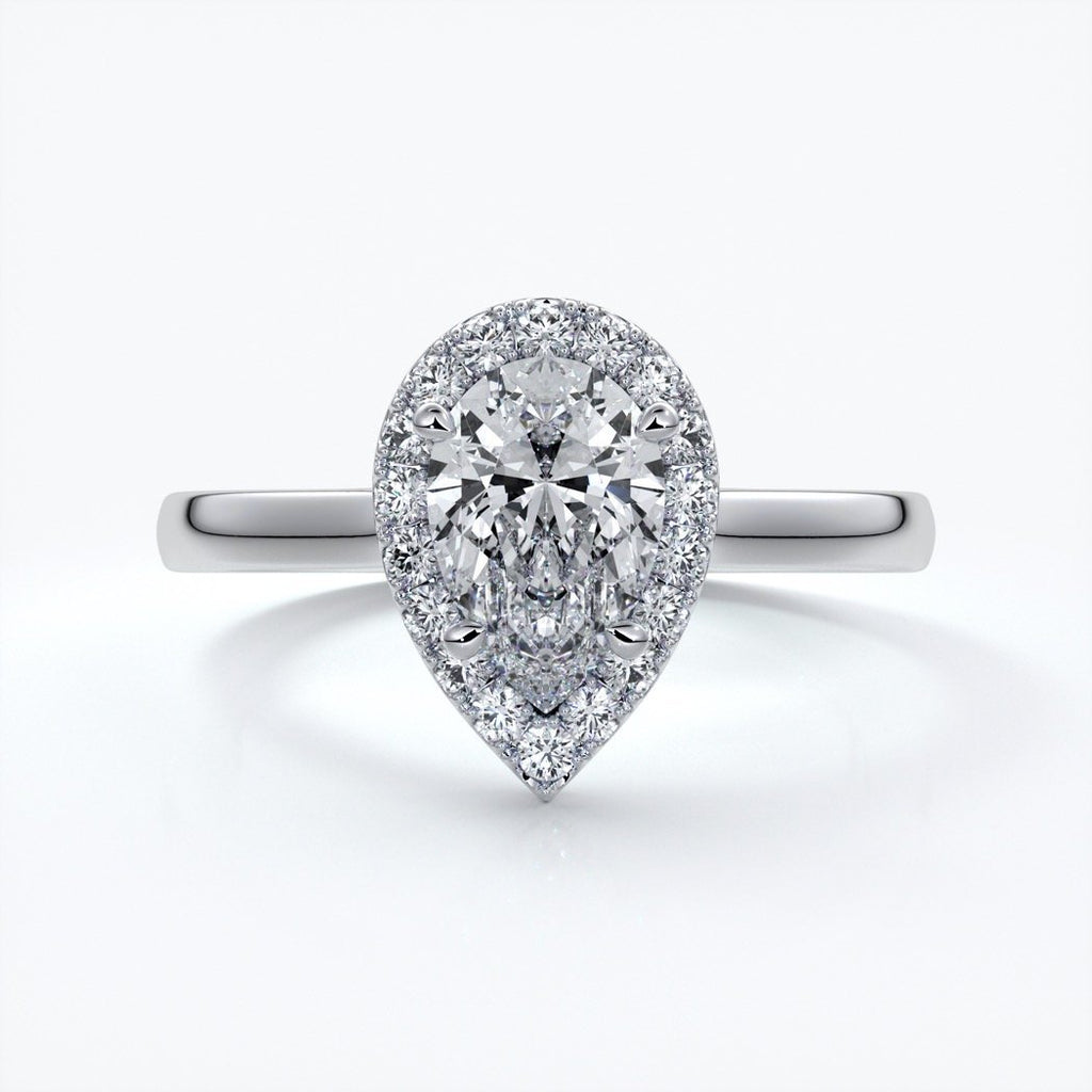 Audrey Engagement Ring pear halo platinum