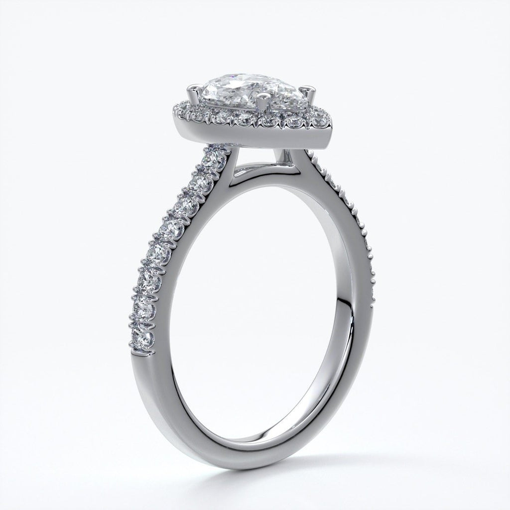 Ava Engagement Ring pear diamond band halo platinum