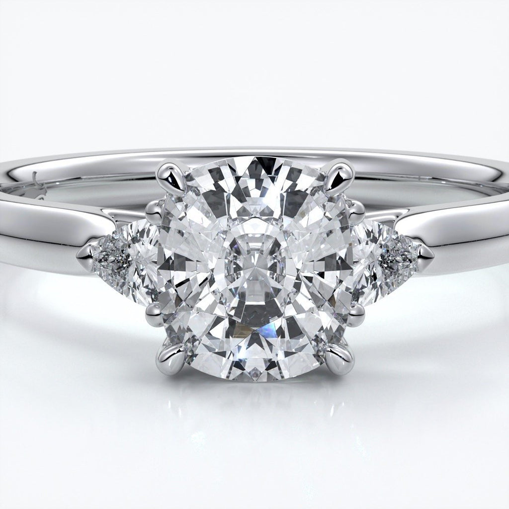 Caitlin Engagement ring cushion diamond trilogy cathedral 18ct white gold