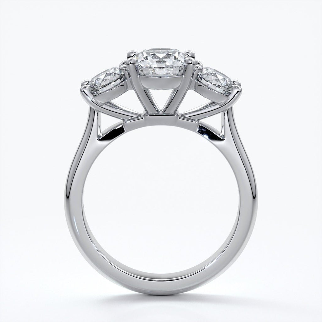 Dahlia Engagement ring straight trilogy round cathedral 18ct white gold