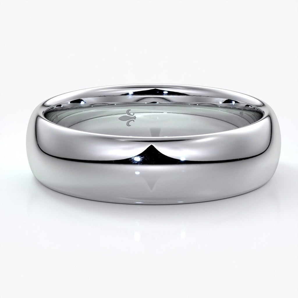 Jack Wedding ring 6mm comfort round mens band 18ct white gold