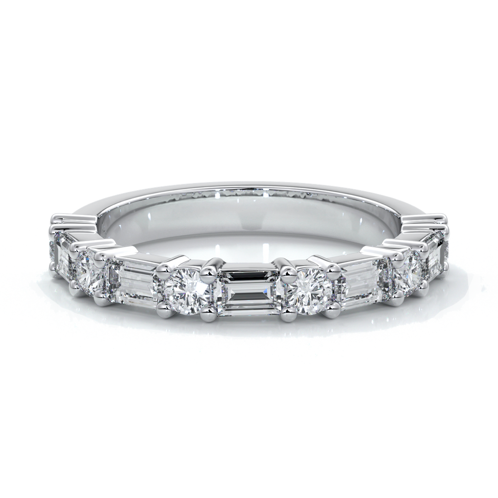Jodie Wedding ring small round diamonds baguette 18ct white gold
