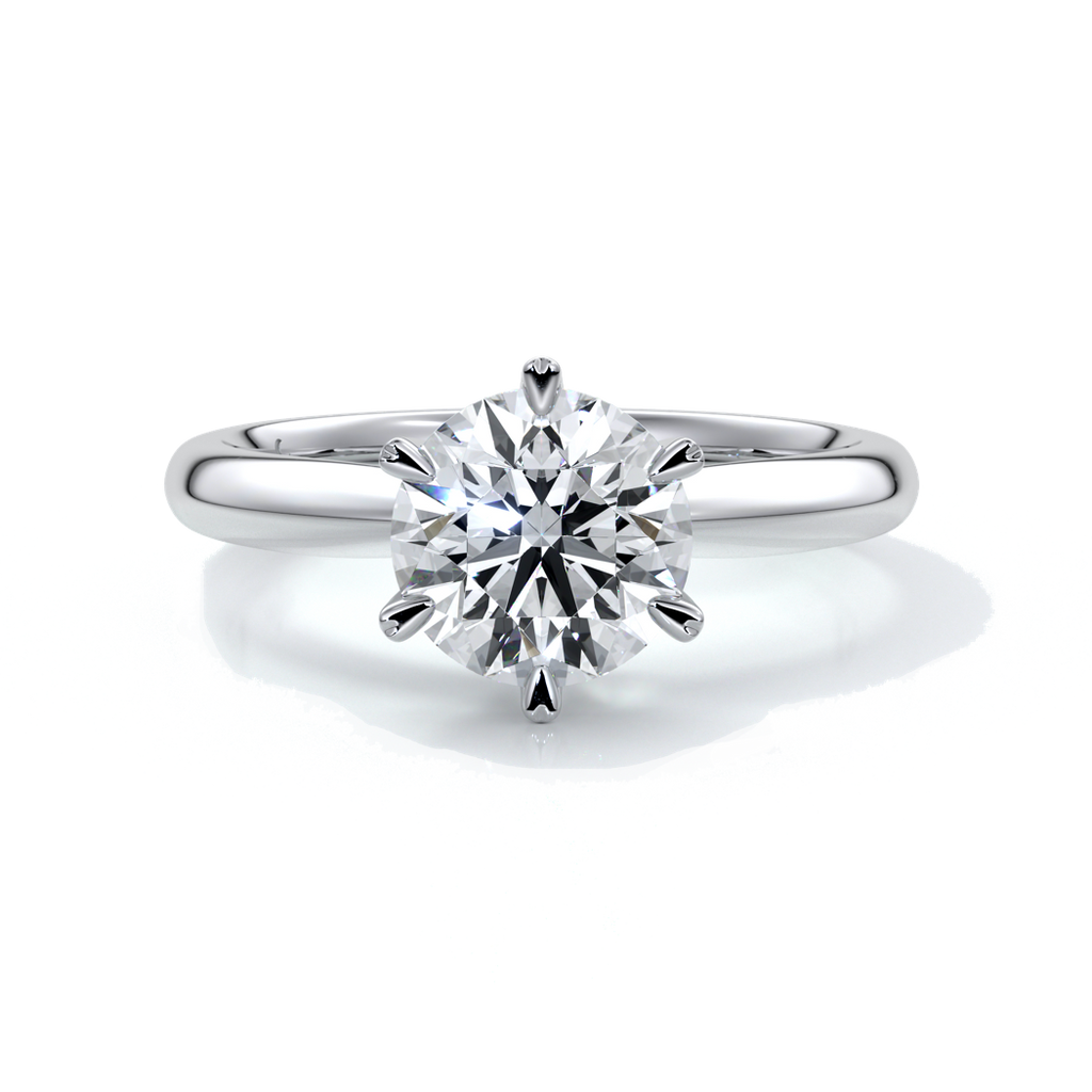 Lily Engagement ring round diamond 6 claws platinum