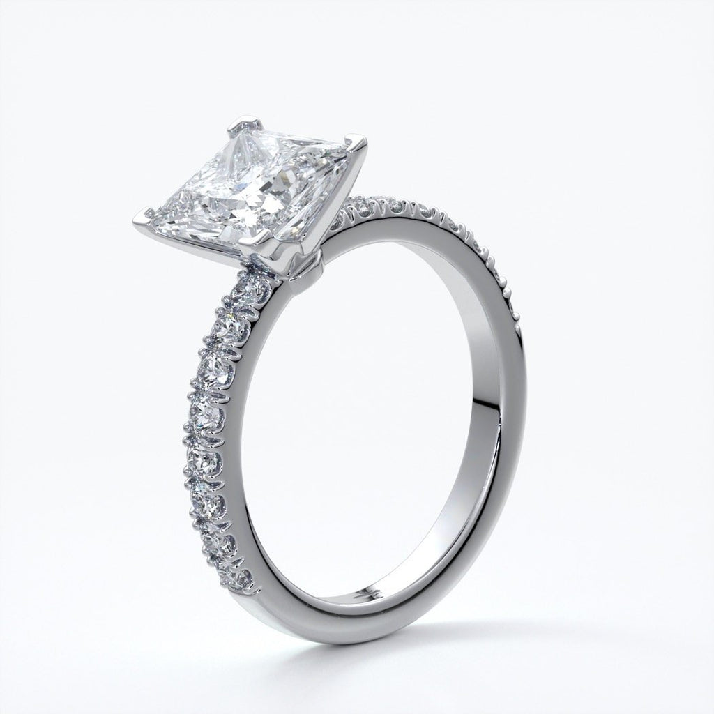 Mary Engagement Ring princess diamond band solitaire plat