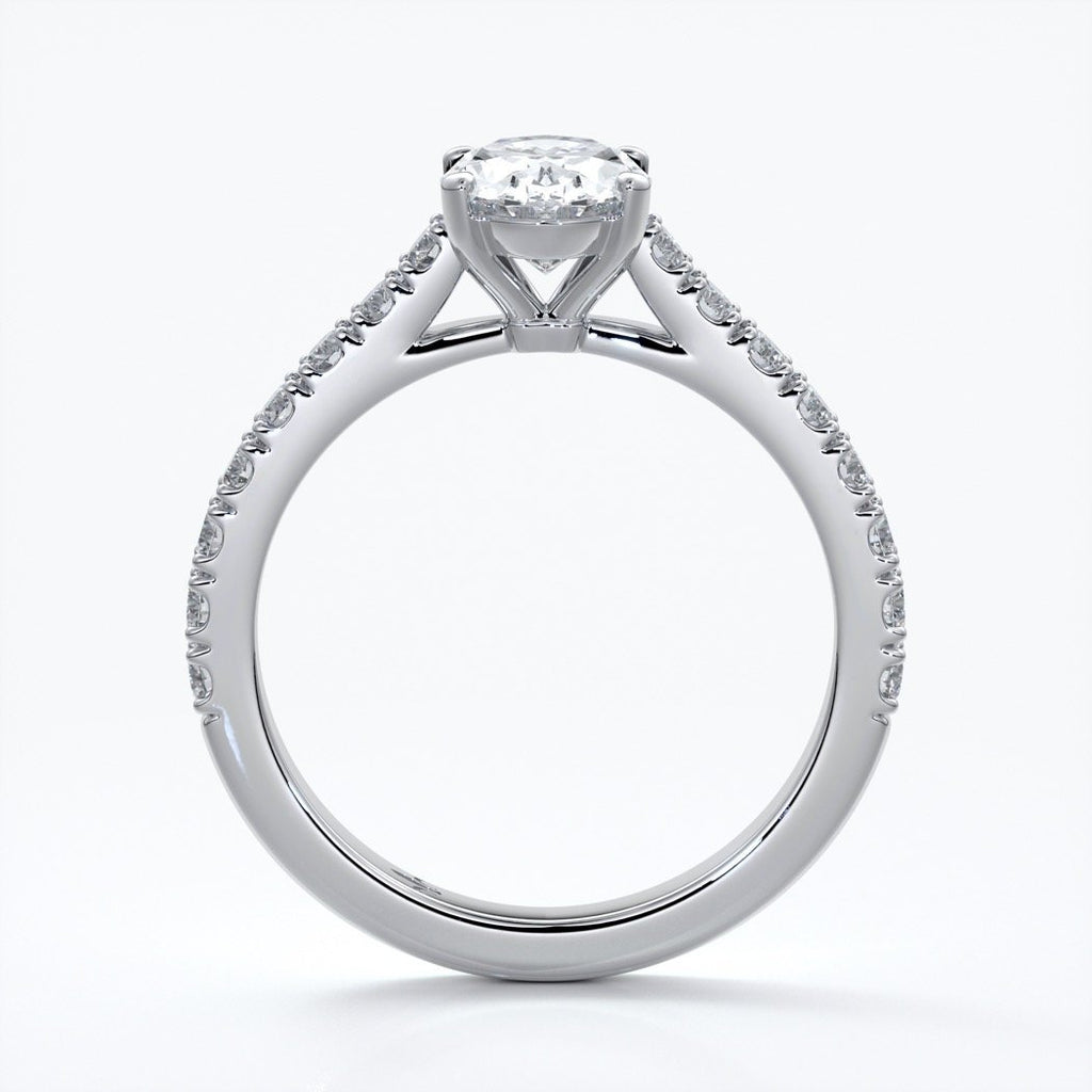 Penelope Engagement ring oval diamond 4 claw cathedral diamond band 18ct white gold