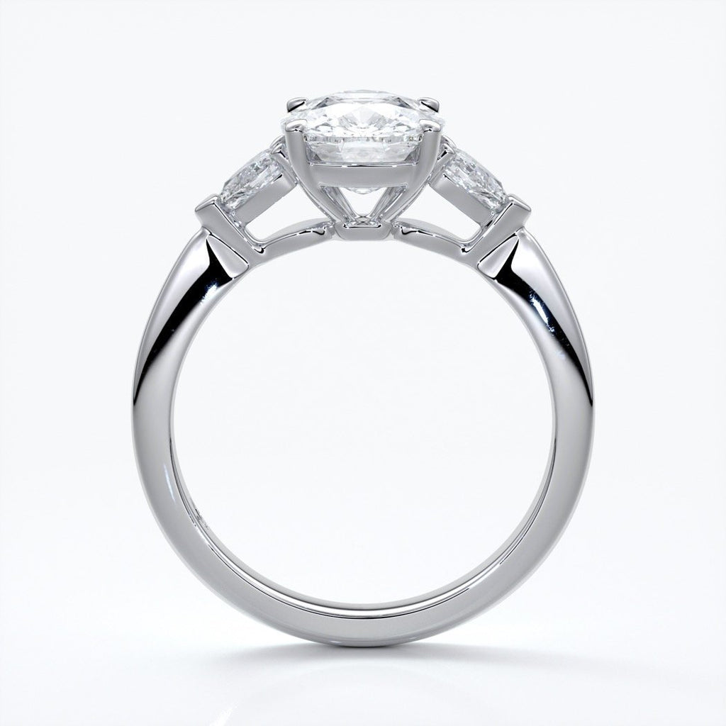 Sophie Engagement ring cushion cut trilogy pears cathedral platinum