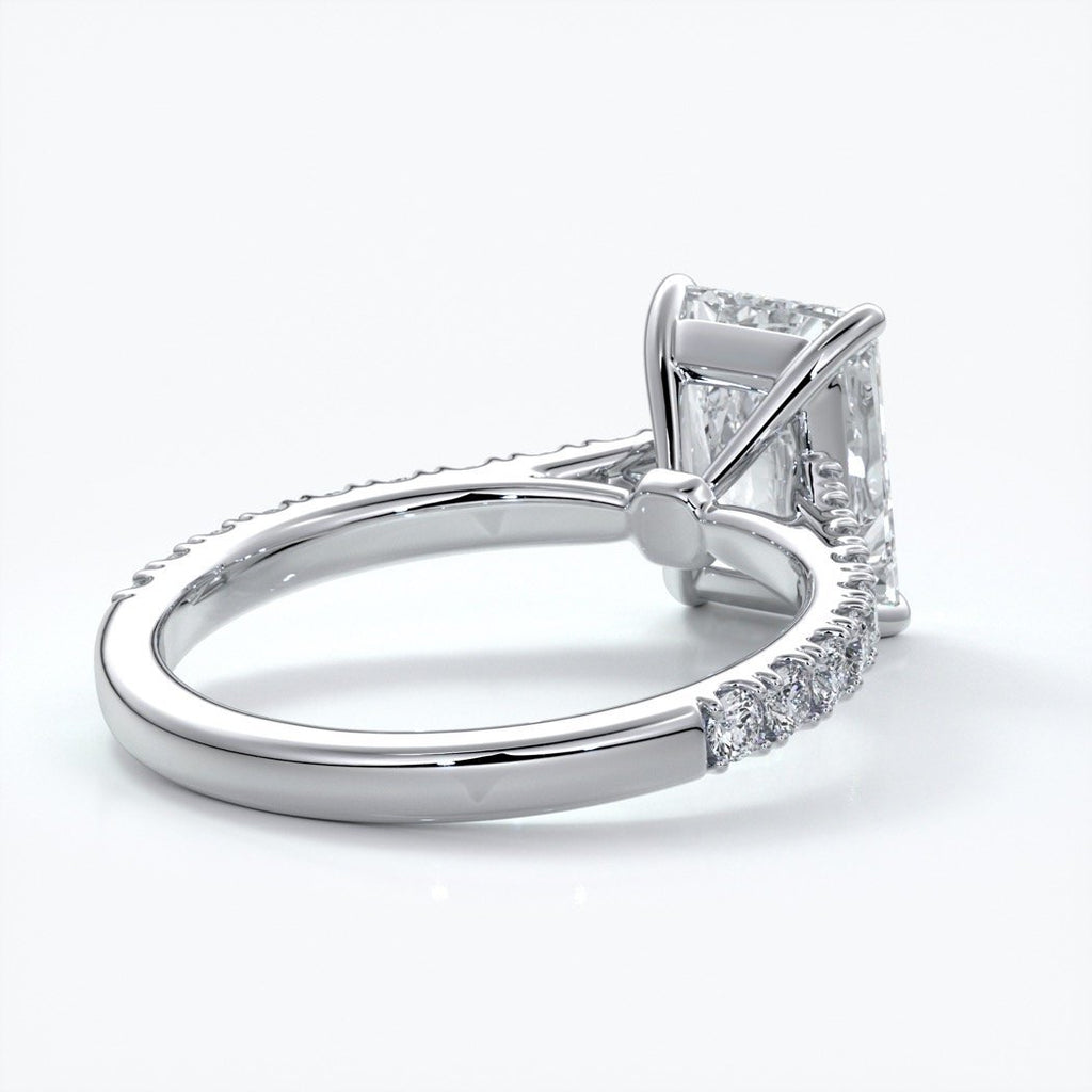 Susan Engagement ring radiant cut cathedral diamond band platinum