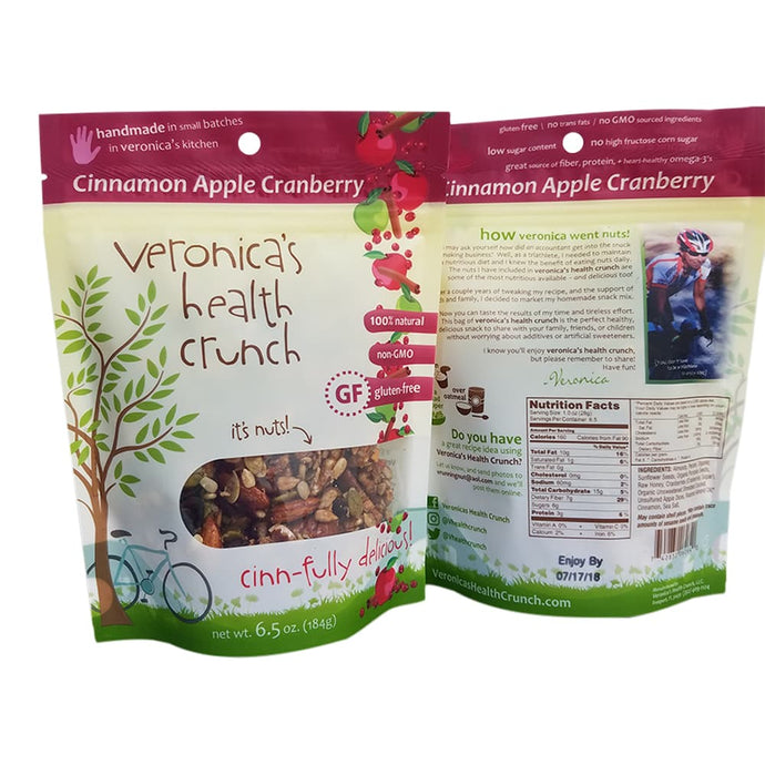 veronica's health crunch cinnamon apple cranberry flavor 6.5 oz bag