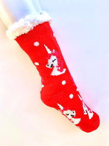 Red Unicorn Fluffy Home Socks