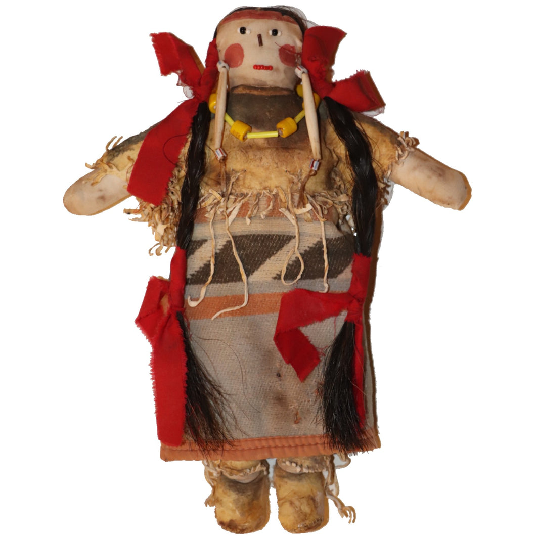 Original Pueblo Painted Doll with Blanket c.1870