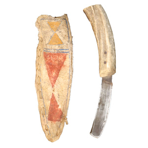 Wasco Sinew Sewn Parfleche Knife and Sheath c.1870