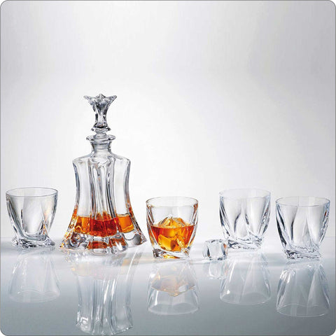 Florale Crystal Whiskey Decanter Set