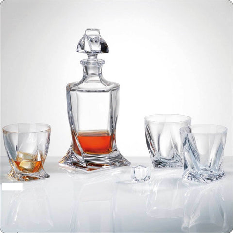Quadro Crystal Whiskey Decanter Set