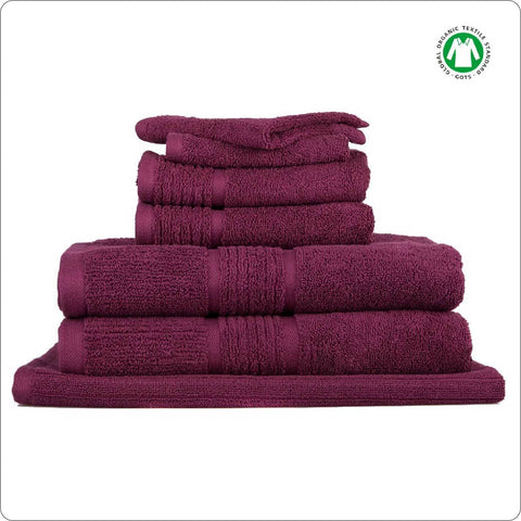 Organic Cotton Towel 7-Piece Set BERRY COLOUR