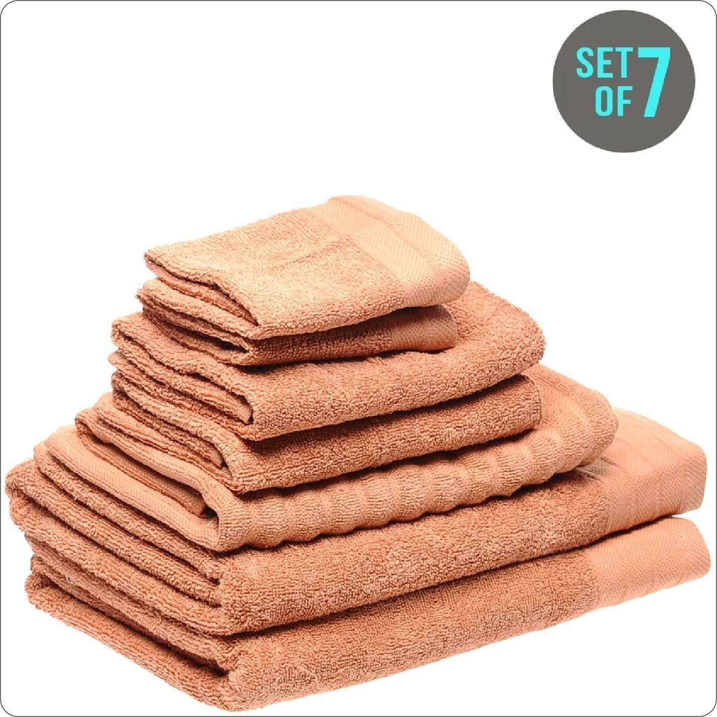 Organic Cotton Towel 7-Piece Set PAPAYA COLOUR