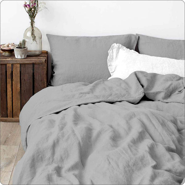 Linen King Bed Duvet set GREY