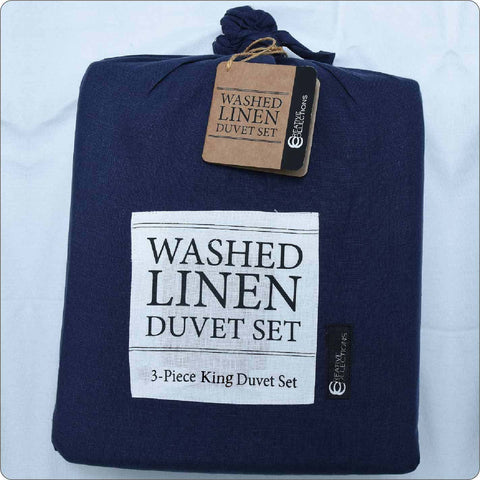 Linen King Bed Duvet set MARINE