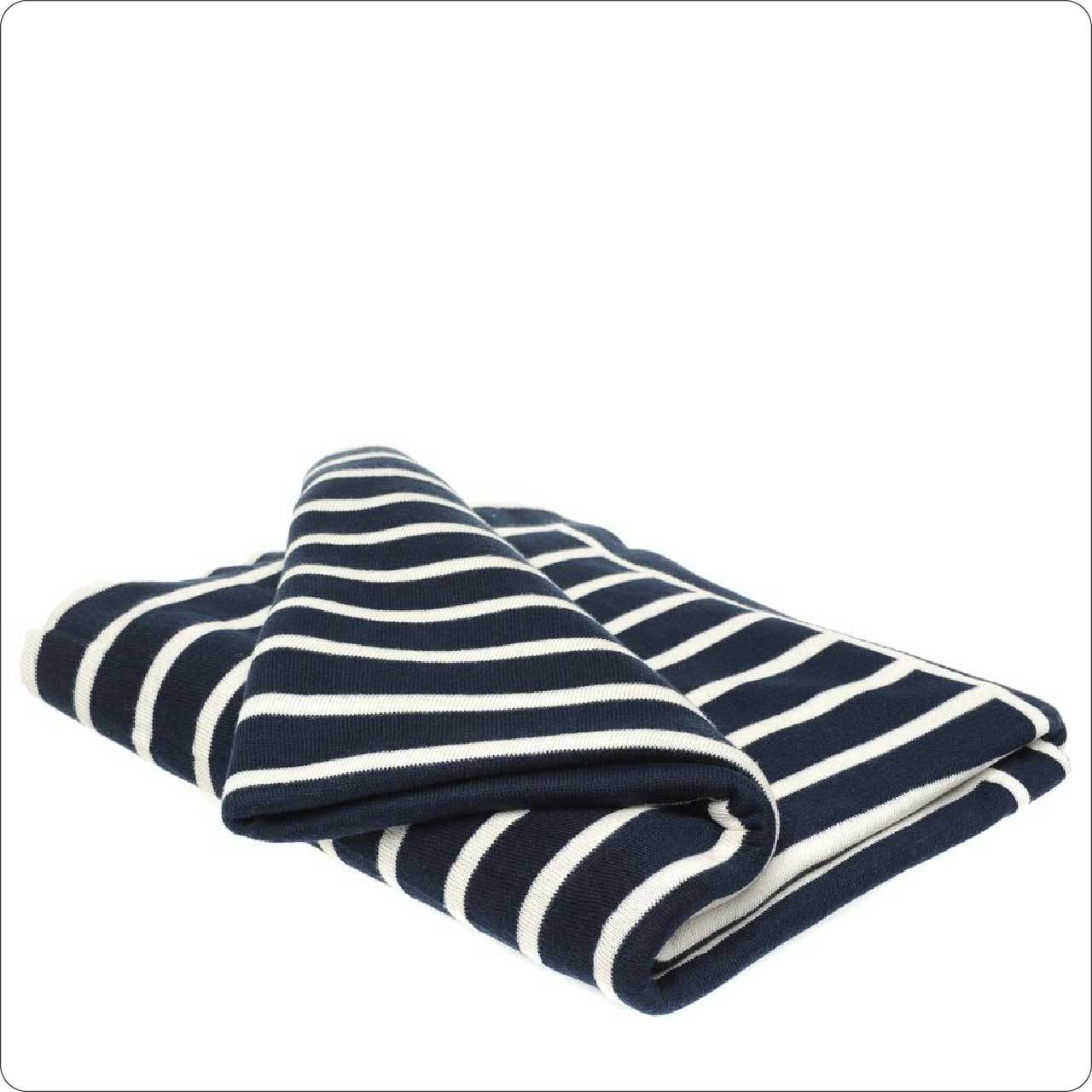 Luxury Cotton Knitted Throw 130x180cm Navy-Ivory