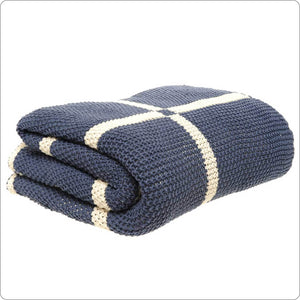 Luxury Cotton Knitted Throw 130x180cm Indigo-Natural