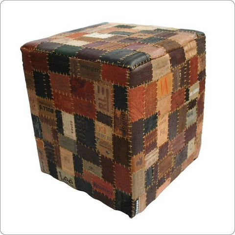 Leather Cube stool pouf ottoman