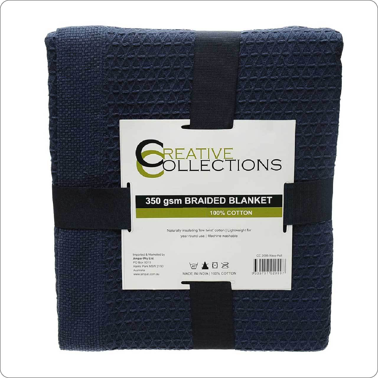 Pure Cotton Waffle Blanket Twin/Full/King Navy