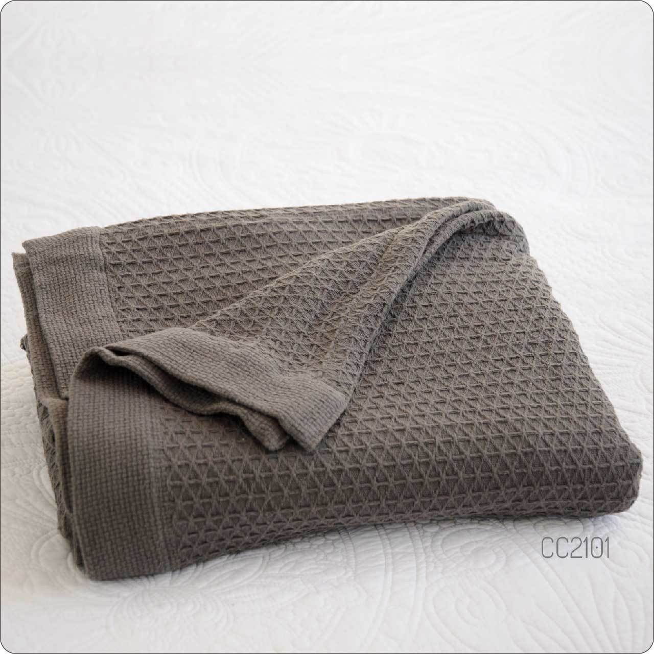 Pure Cotton Waffle Blanket Twin/Full/King Ash