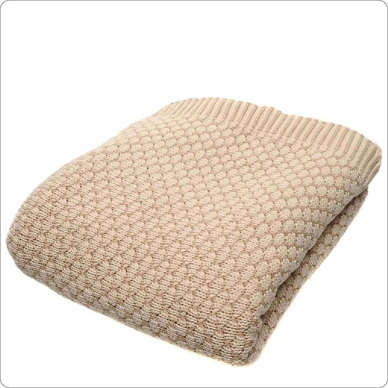 Luxury Cotton Cable Knit Throw 125x150cm Latte