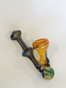 Hand Blown Barracuda Glass Sidecar Marble Pipe
