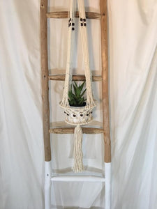 Macrame wood bead basket hanger