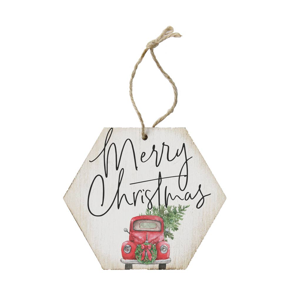 Merry Christmas Red Truck Ornament