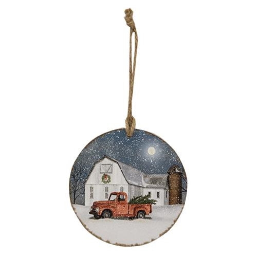 Red Truck Wintry Ornament