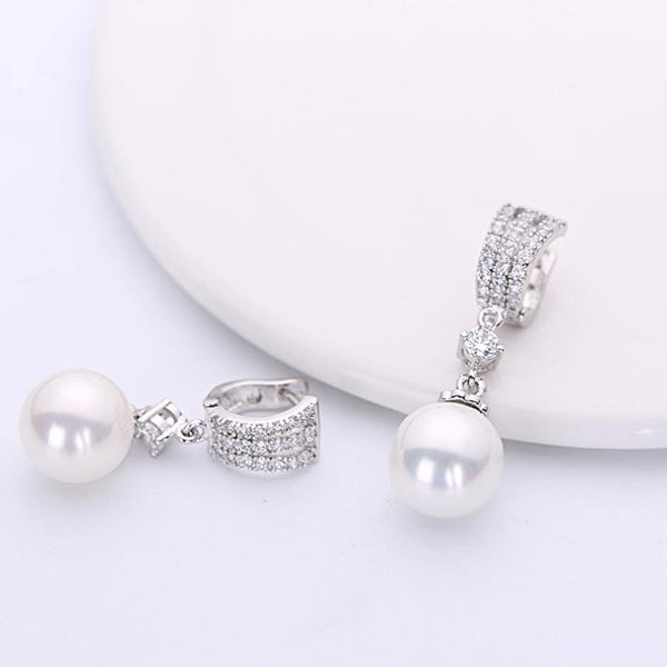 S925 Silver Pearl Earrings-earrings-Jiary