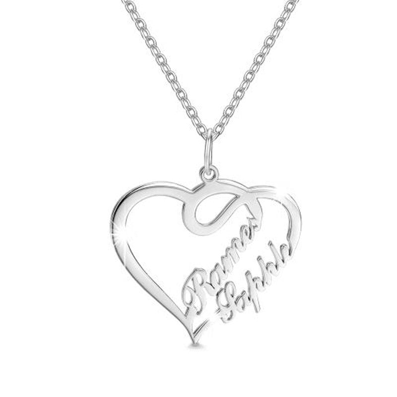 Custom Double Heart-Shaped Letter Necklace-necklace-Jiary