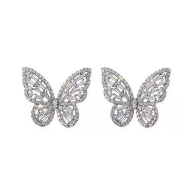 Zircon butterfly earrings-earrings-Jiary