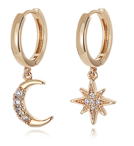 Star Moon Asymmetrical Simple Gold Drop Earrings