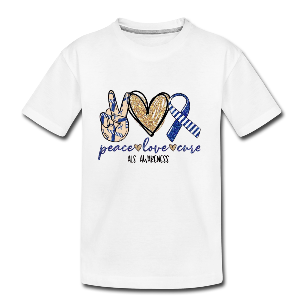 Toddler T-Shirt - peace, love, cure - white