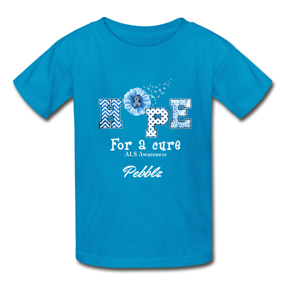 Youth T-Shirt - Hope For A Cure - turquoise