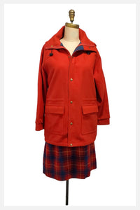 Vintage 1980s Woolrich Hooded Wool Coat In Red