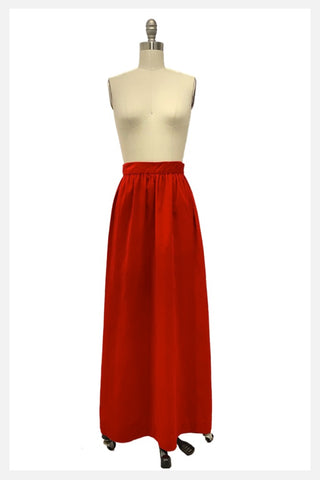 1970s red velvet full maxi hostess skirt | 70s a-line red skirt | size smal