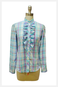 1970s plaid ruffled shirt