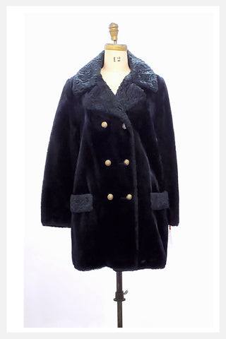 1970s Teddy Bear coat with faux Persian lamb trim