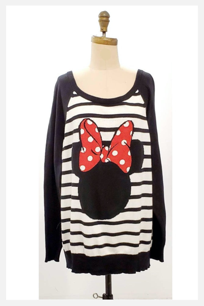 Official retro Disney Mini Mouse slouchy cotton sweater with beaded bow