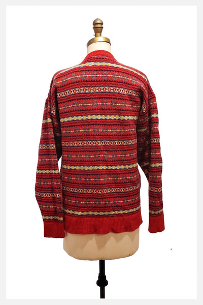 NorsKnit of Norway red fair isle wool cardigan sweater