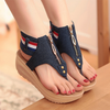Kara Denim Wedge Sandals