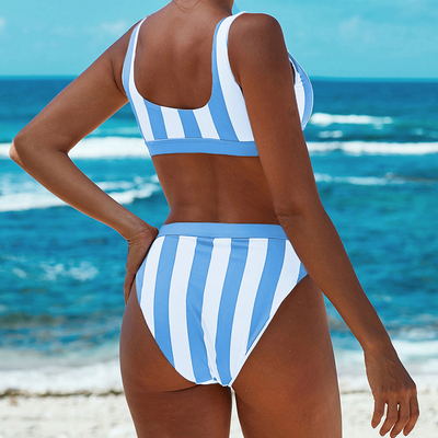 CAROLINE STRIPED TWO PIECE SWIMSUIT