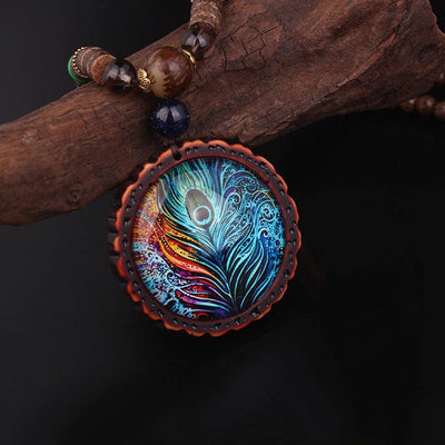 Peacock Feather Amulet Necklace
