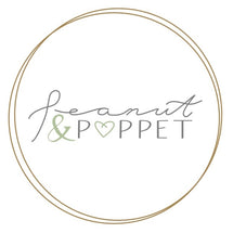 Peanut and Poppet logo. Gold scribble circles with grey script writing for Peanut and structured writing for Poppet. Green ampersand and heart for the
